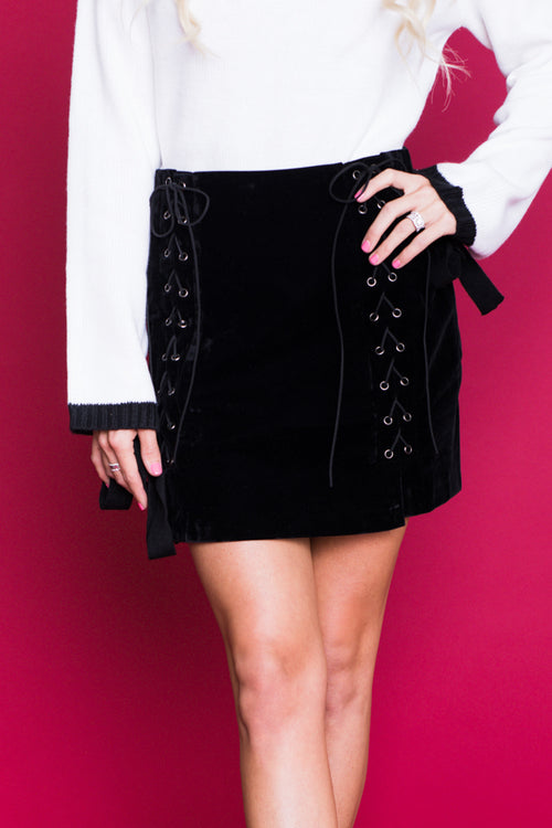 Nothing's Over Lace-Up Velvet Mini Skirt - Black