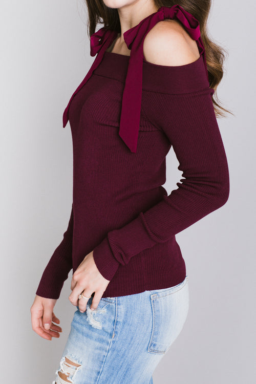 Brianna Ribbon Straps Knit Top - Burgundy
