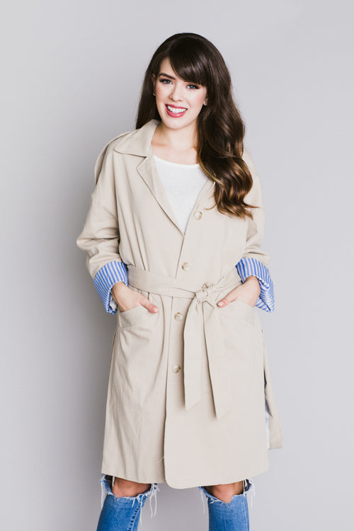 London Shower Long Trench Coat - Taupe
