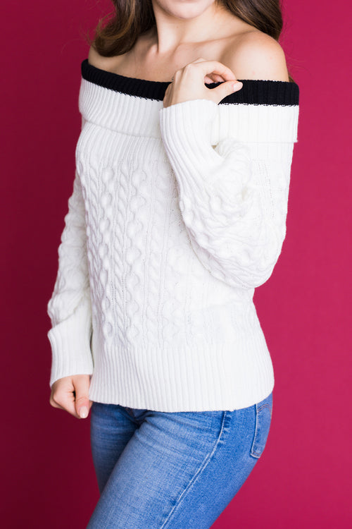 Overboard Off The Shoulder Sweater - Ivory *FINAL SALE*
