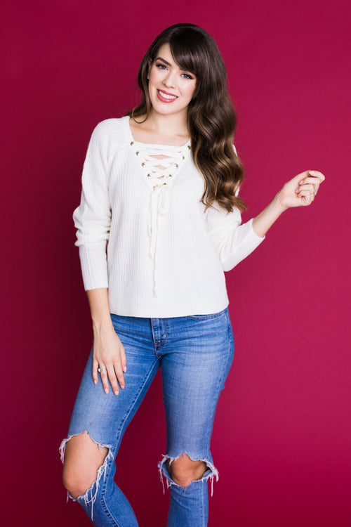 Hanks Knit Lace Up Sweater - Ivory