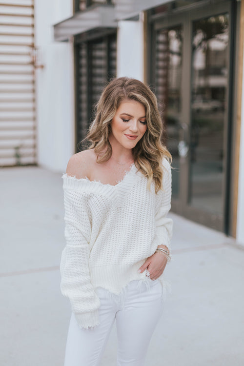 Frayed V Neck Sweater - Ivory