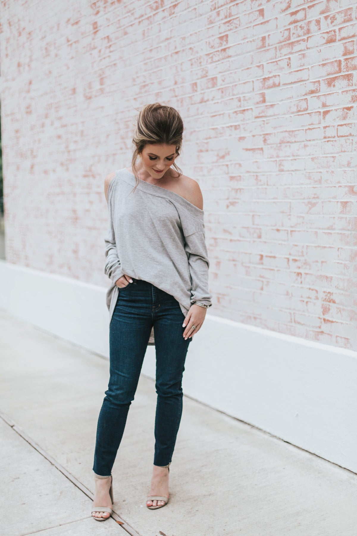 Stand By Me Cold Shoulder Sweater - Grey