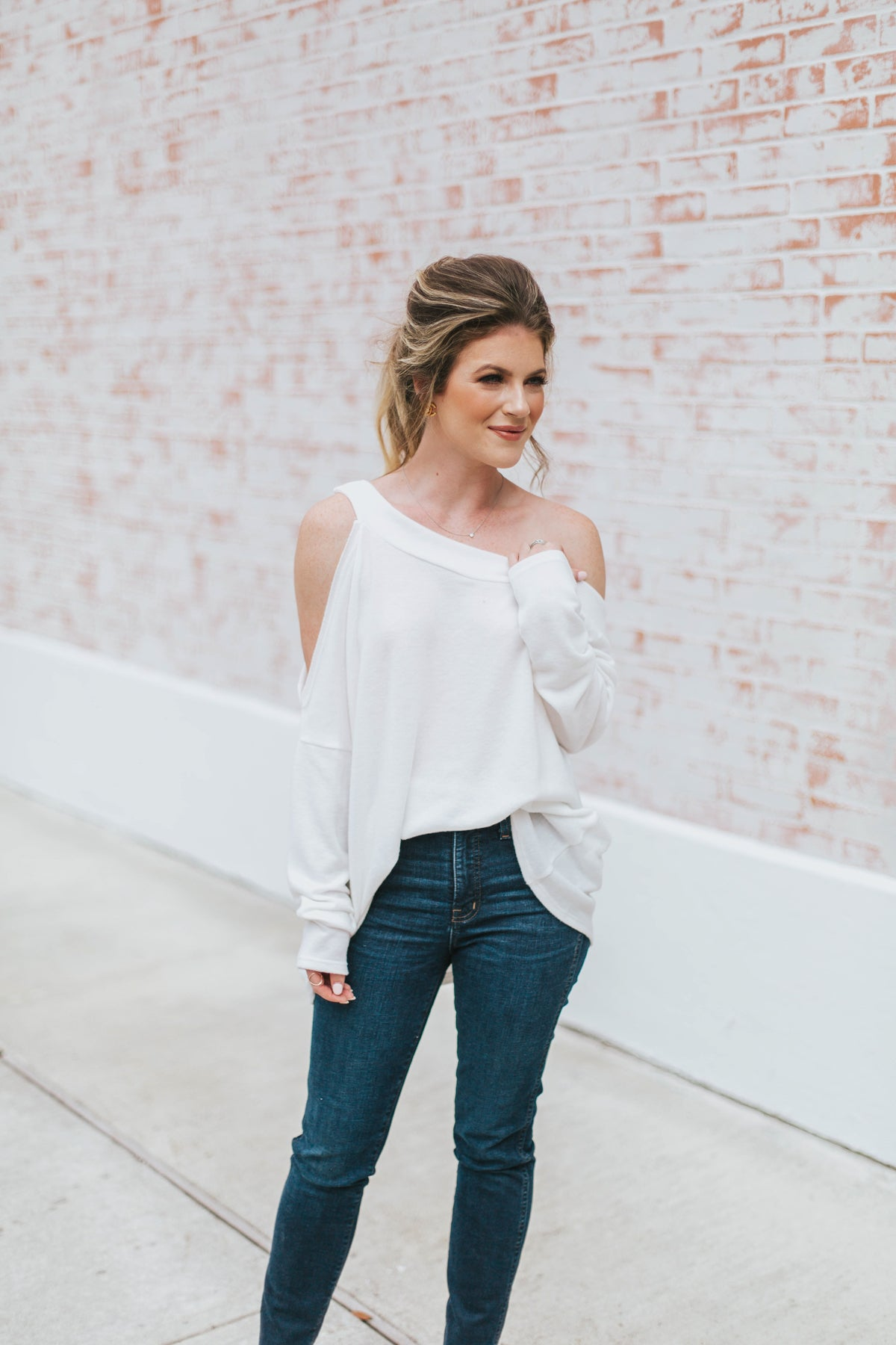 Stand By Me Cold Shoulder Sweater - White