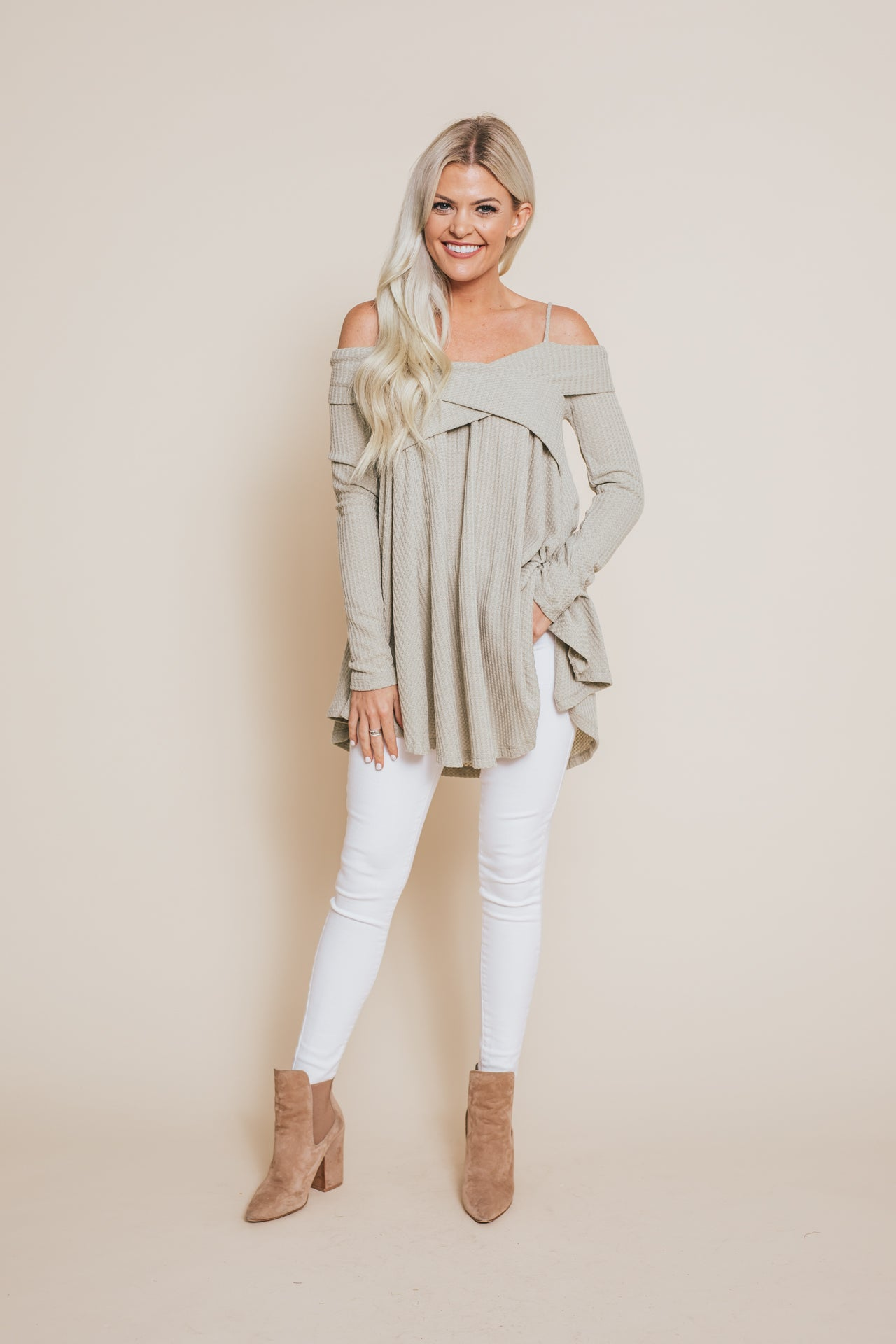 Fall Is Blooming Thermal Top - Sage