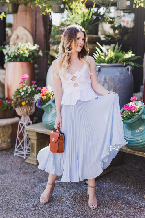 Katy Dusty Blue Pleated Skirt