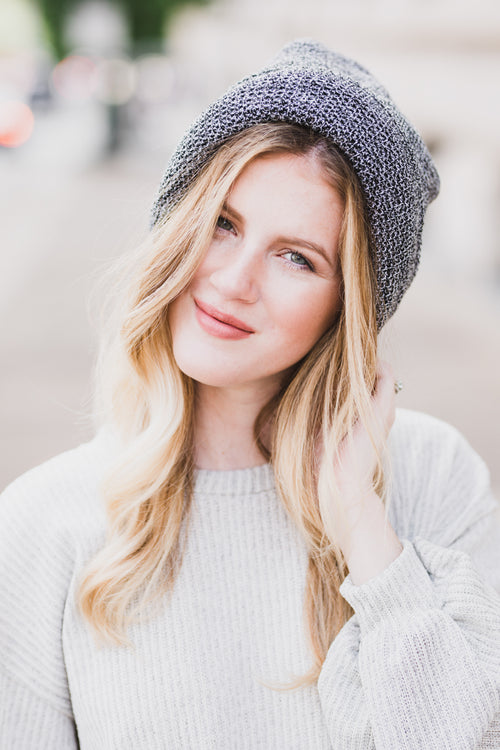 Say It First Slouchy Knit Beanie - Black/White
