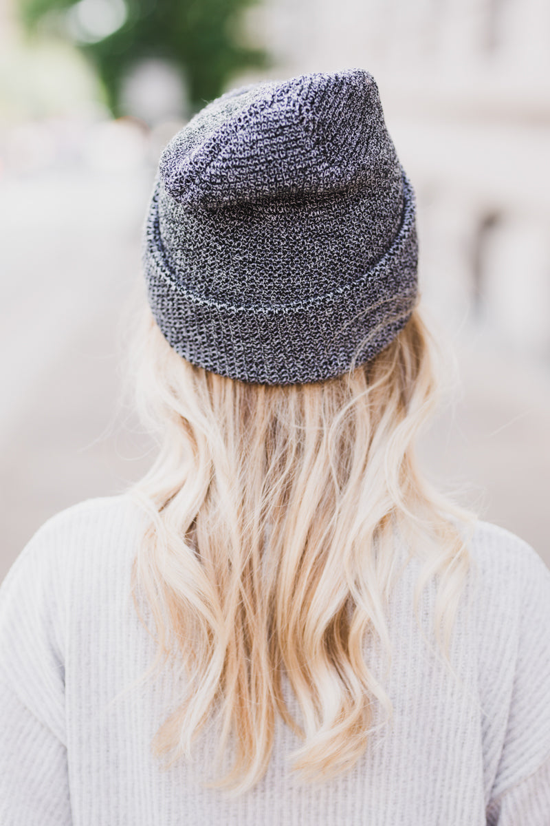 Say It First Slouchy Knit Beanie - Black/White *FINAL SALE*