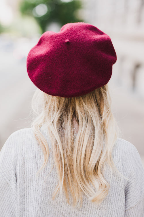 Julia Wool Beret - Burgundy