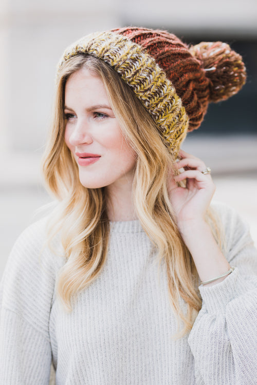 Harvest Moon Pom Pom Knitted Beanie