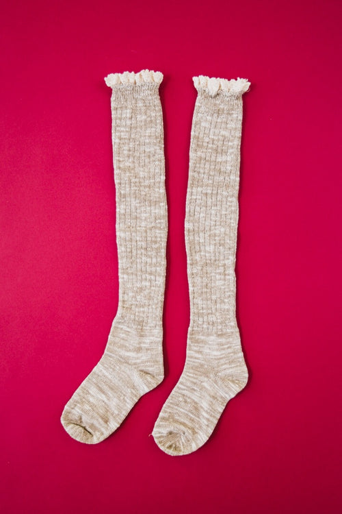Autumn Leaves Ribbed Over The Knee Socks w/ Lace Trim  *FINAL SALE*
