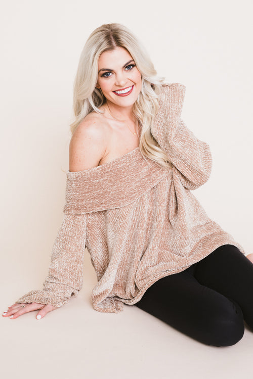 Caramel Dreams Off The Shoulder Chenille Sweater *FINAL SALE*