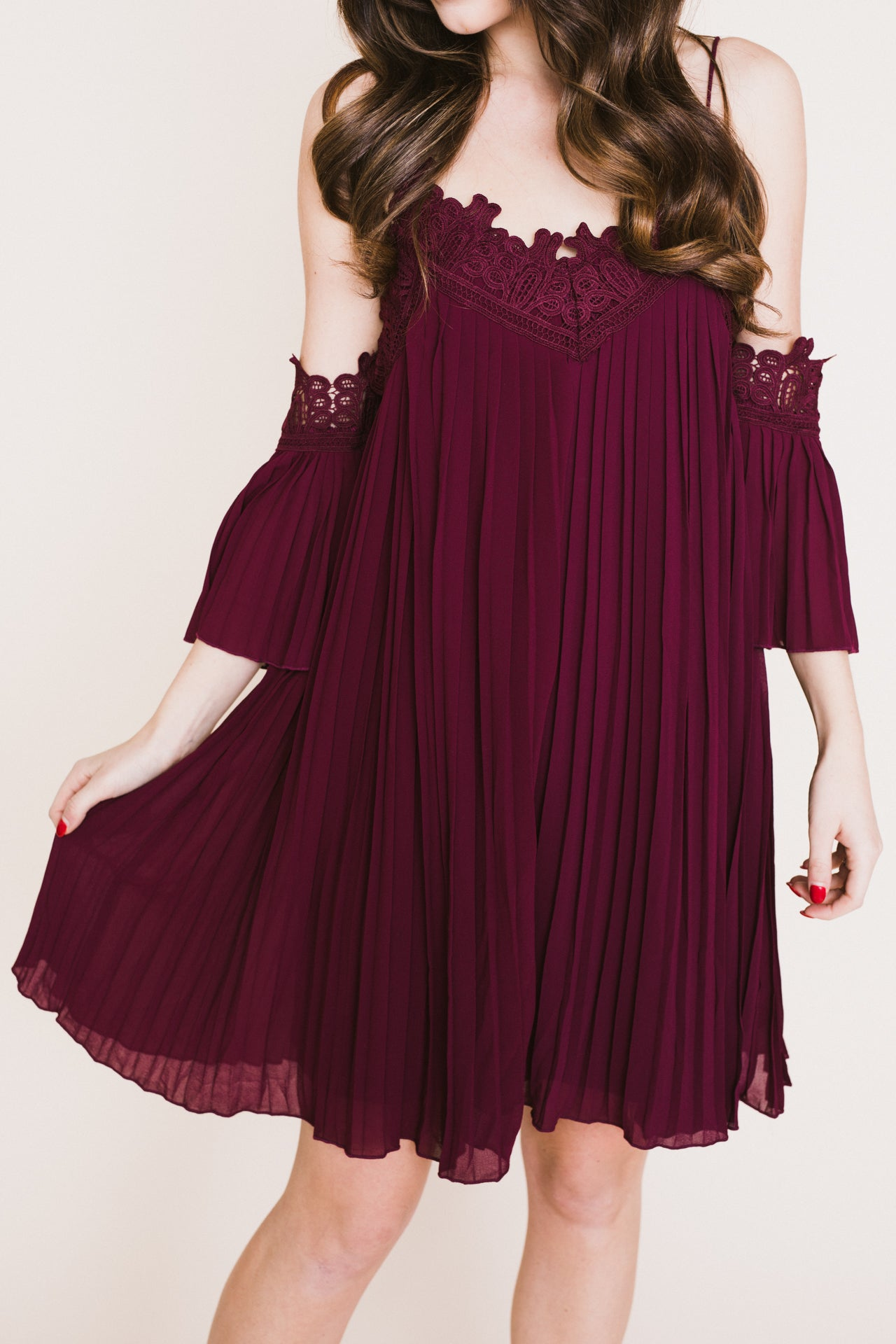 Rosella Pleated Dress - Burgundy *FINAL SALE*