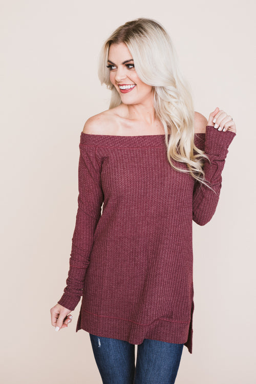 Wake Me Up Thermal Top - Dusty Rose *FINAL SALE*