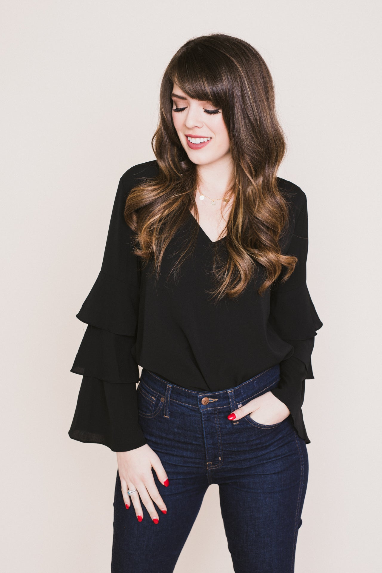 Three's Company Ruffled Sleeve V-Neck Top