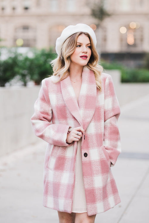 Luxembourg Rose Checkered Coat