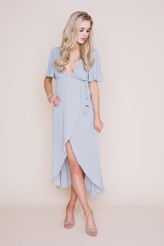 Periwinkle Flower Embroidered Maxi Dress