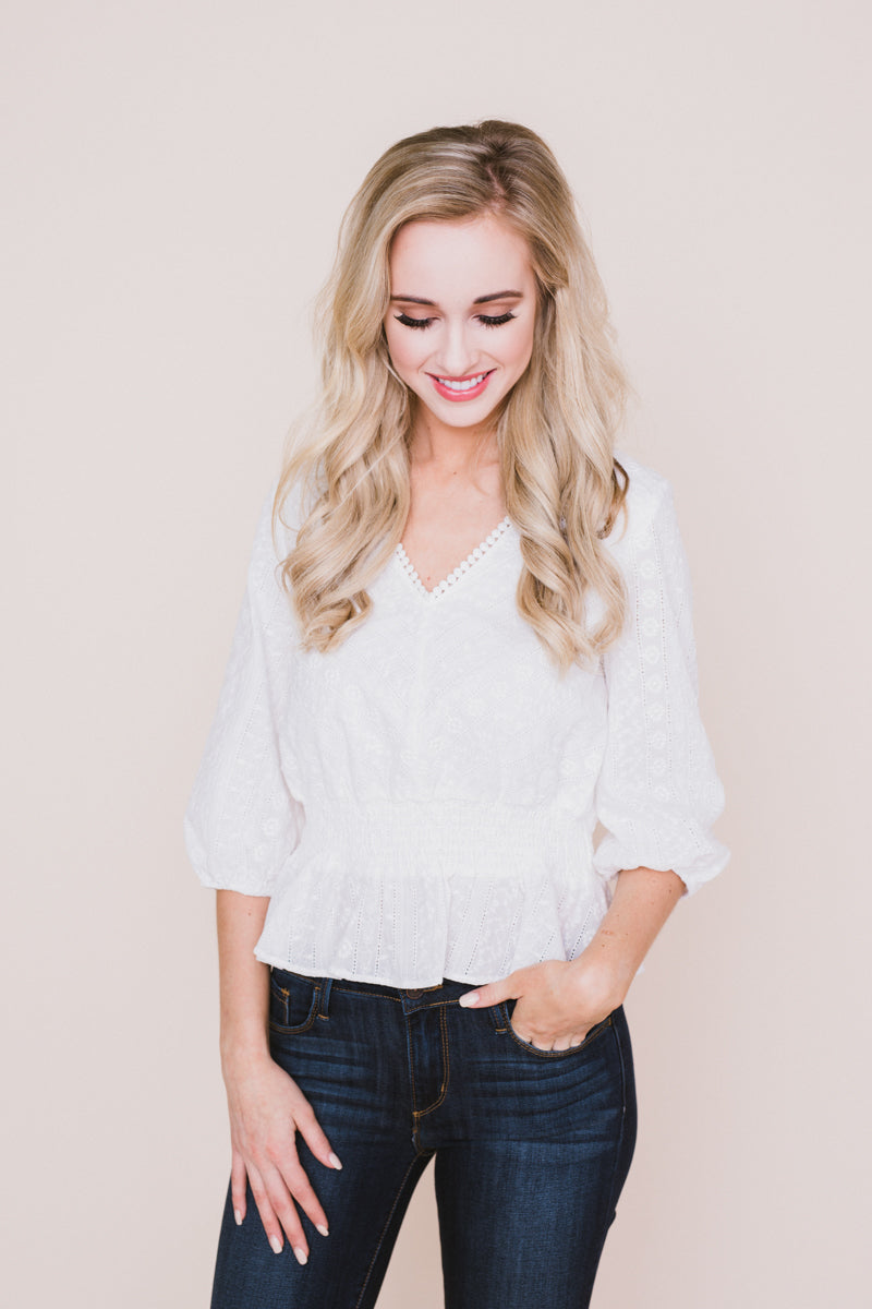 Vacay All Day Ruffled Smock V-Neck Blouse