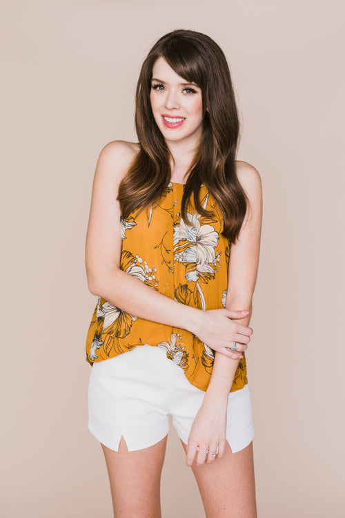 Honey Floral Printed Pleated Top