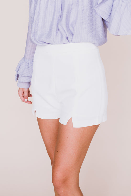 Ellie Slit White Shorts *FINAL SALE*