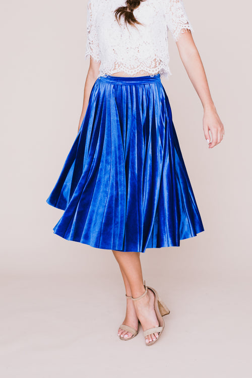 Blue Velvet Pleated Midi Skirt *FINAL SALE*