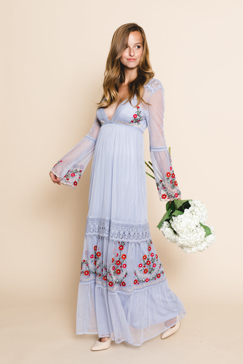 Periwinkle Flower Embroidered Maxi Dress *FINAL SALE*