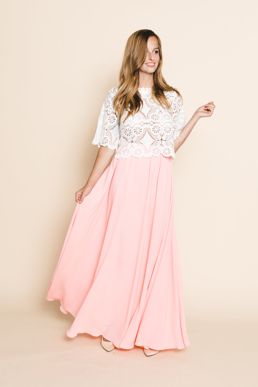 Lavender Fields Maxi Skirt - Blush