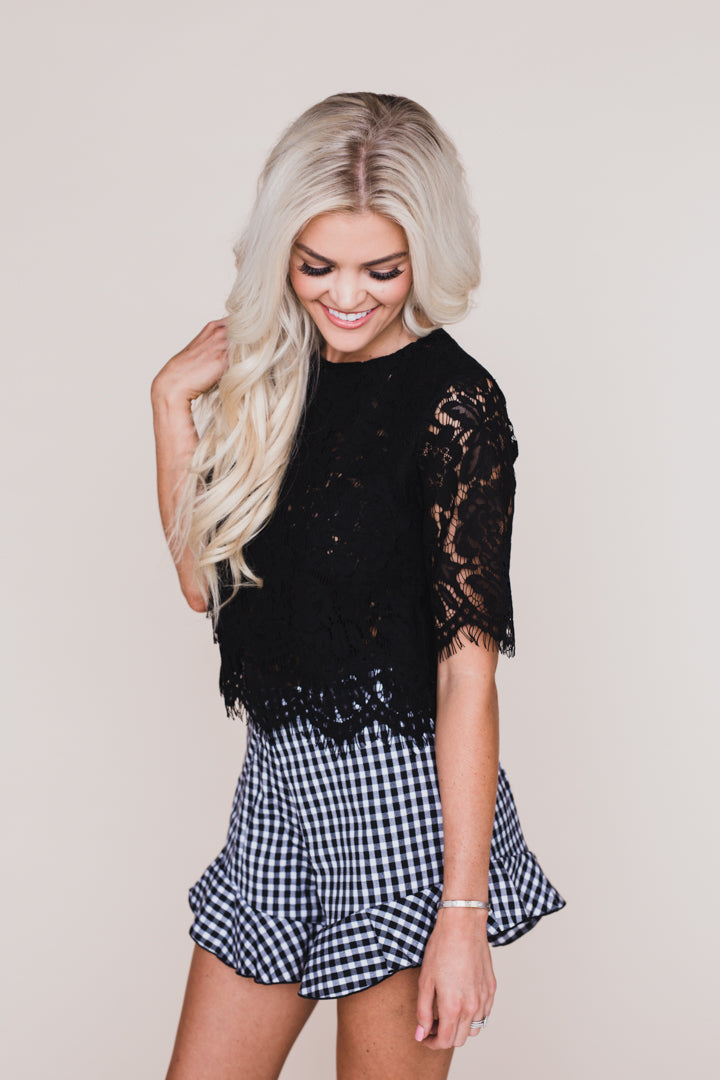 When In Rome Black Lace Top
