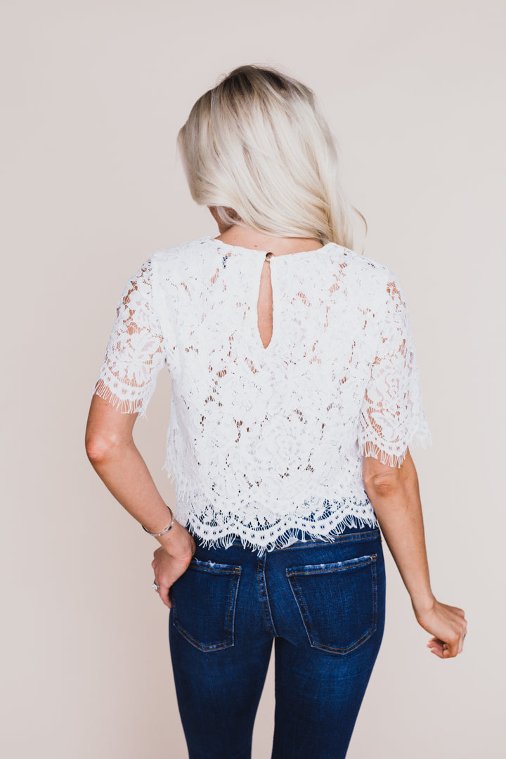 When In Rome White Lace Top