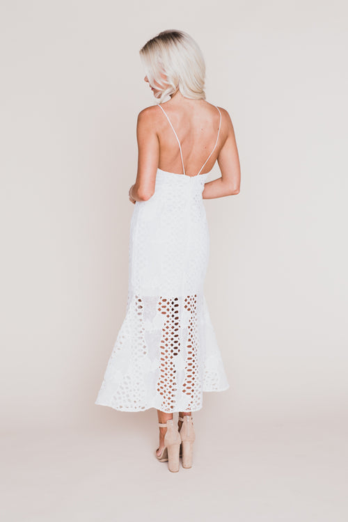 Mermaid Fit Lace Midi Dress
