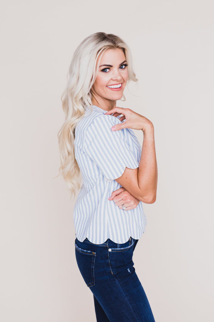 London Scallop Detailed Top *FINAL SALE*