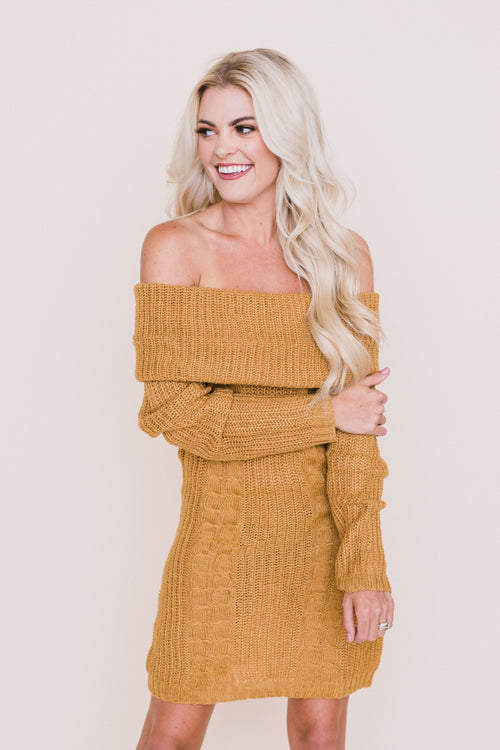 Mila Off The Shoulder Knit Sweater Dress
