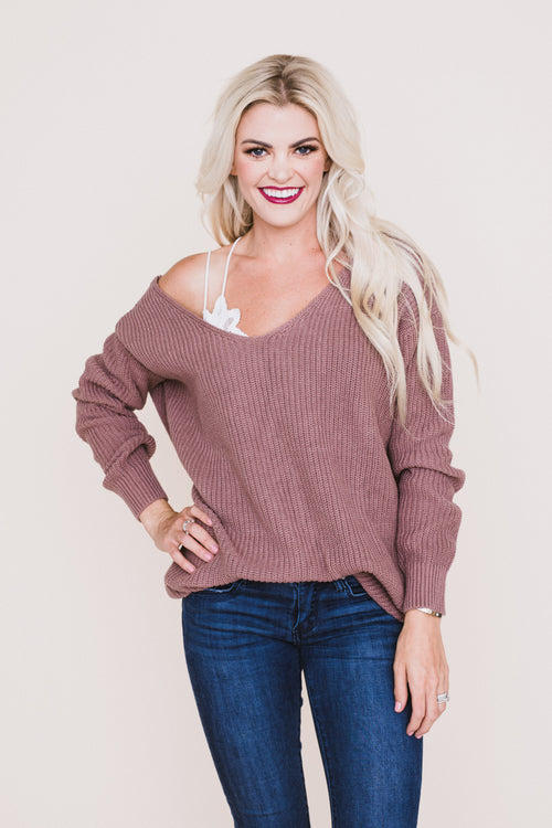 Front Row Seat Sweater - Mauve *FINAL SALE*