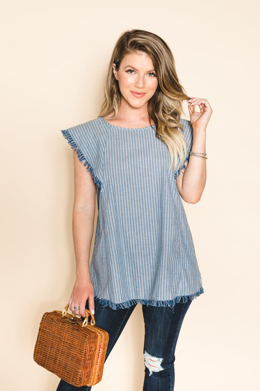Sofia Denim Striped Top