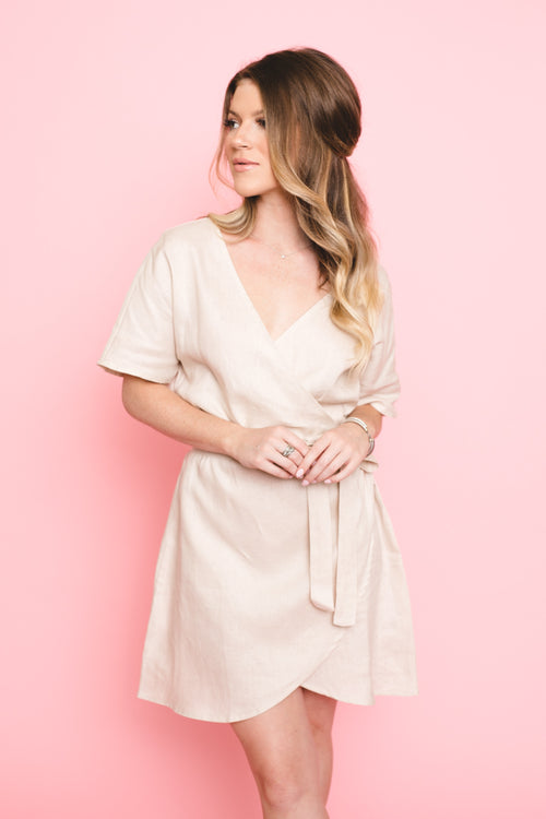 Say Love Linen Wrap Dress  *FINAL SALE*