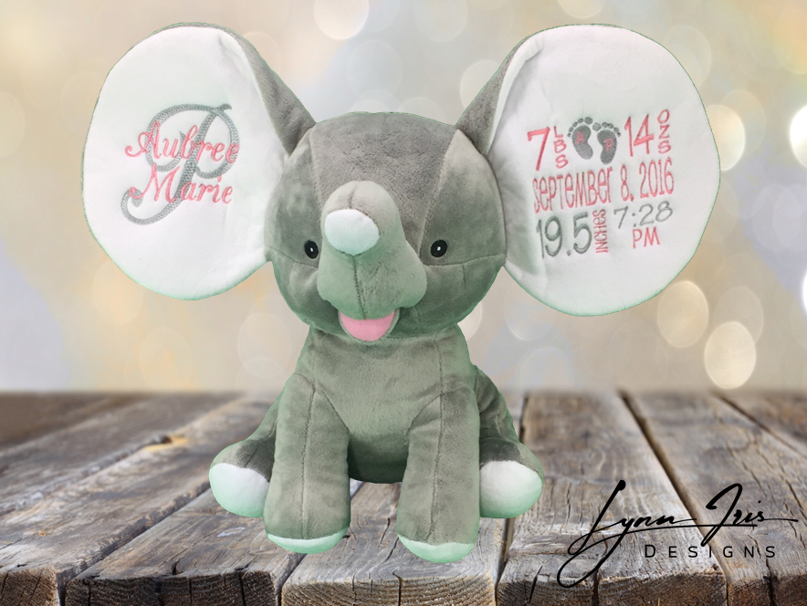 birth announcement dumble elephant lynn iris designs