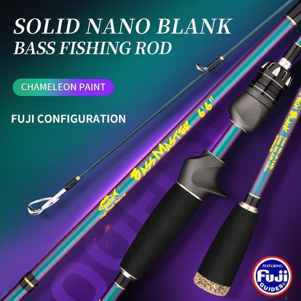 "GOOFISH® BassMaster Chameleon Coating FUJI 6'6""(195cm) Bass Fishing Rod Pole with Solid Nano Blank M/MH Two Action Option"