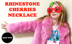 Riley wearing Rhinestone Cherries Necklaces with Fur Jacket and Cherries Sunglasses