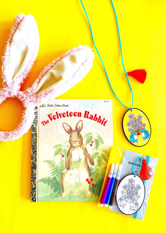 "DIY ""Easter Bunnies"" Necklace + Vintage ""The Velveteen Rabbit"" Book"