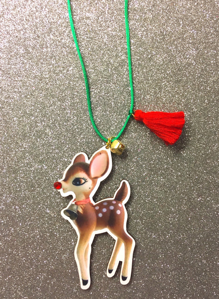 HOLIDAY FAWN NECKLACE with jewel nose