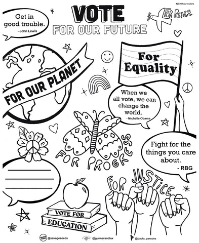 "FREE ""VOTE FOR OUR FUTURE"" PRINTABLE COLORING SHEET"