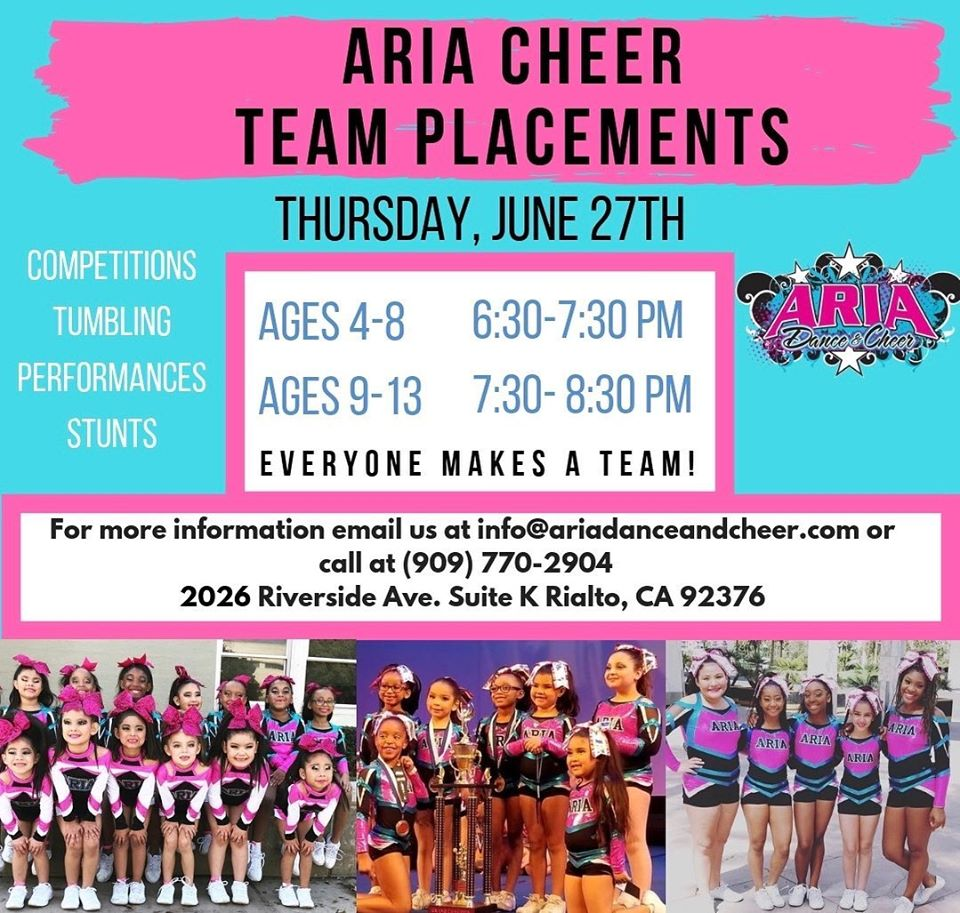 Aria Cheer Team Placements