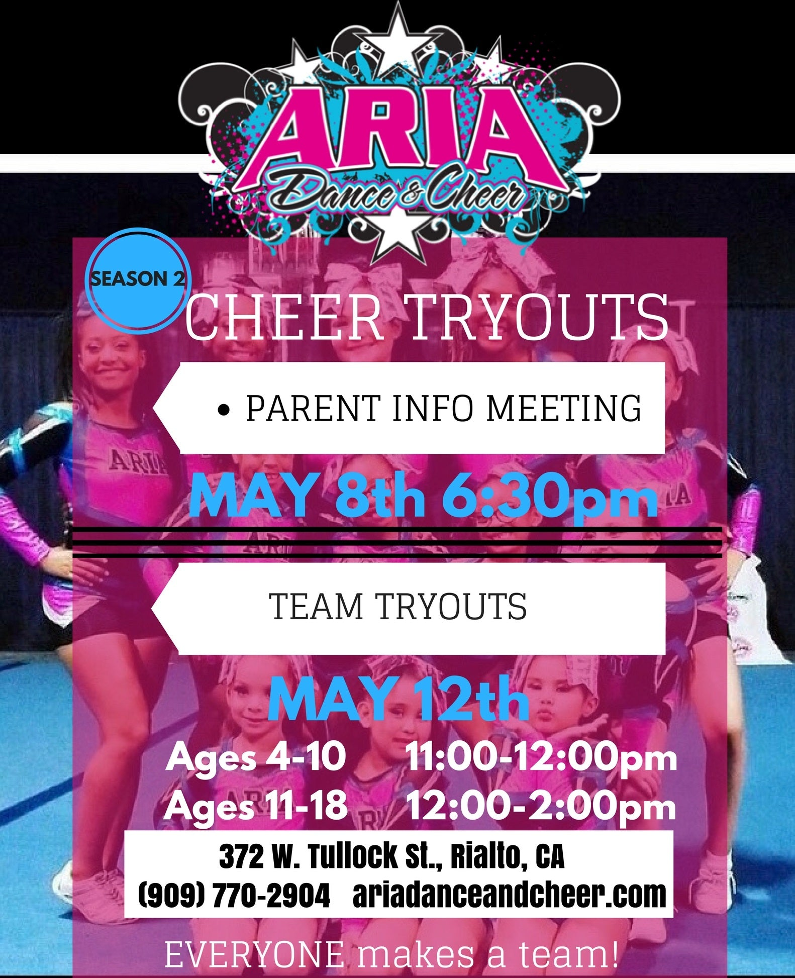 Cheer Tryouts - Aria Dance and Cheer