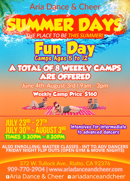 Join us for SUMMER DAYS at Aria Dance & Cheer!