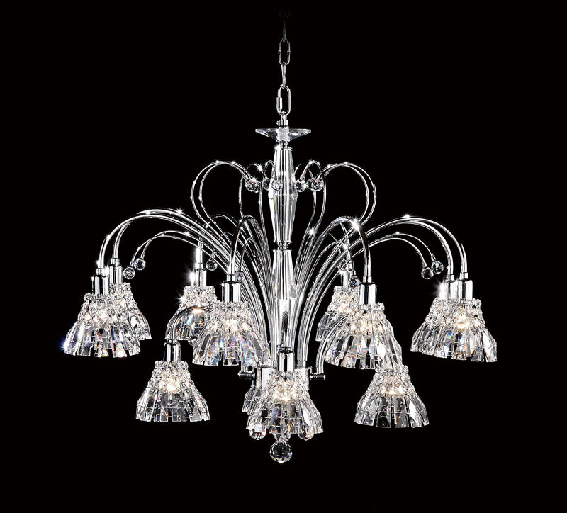 031 Crystal Pendant Light - 32.5in 12 Light - Asfour Crystal - Chandelier [031-(B)-32.5-8+4L-1143]