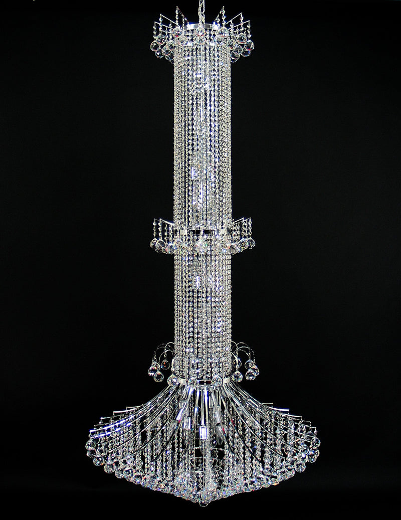 "118 Crystal Pendant Light 38"" 32 Light - Asfour Crystal Chandelier [118-1-38""-40mm]"