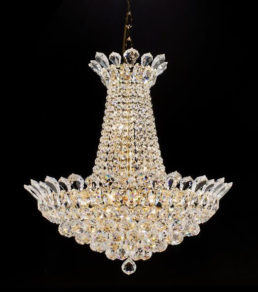 "2009 Crystal Pendant Light 22"" 10 Light - Asfour Crystal Chandelier [2009-22""-40mm]"