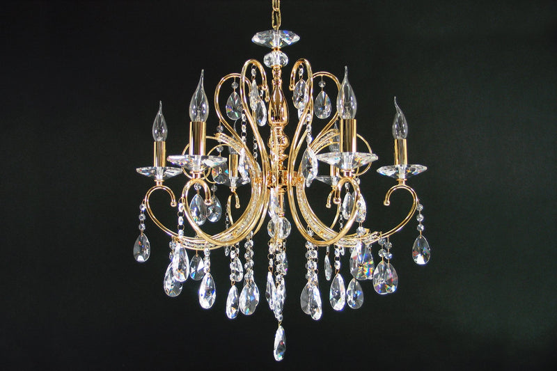 "2013 Crystal Pendant Light 24"" 6 Light - Asfour Crystal Chandelier [2013-24""-6L-873]"