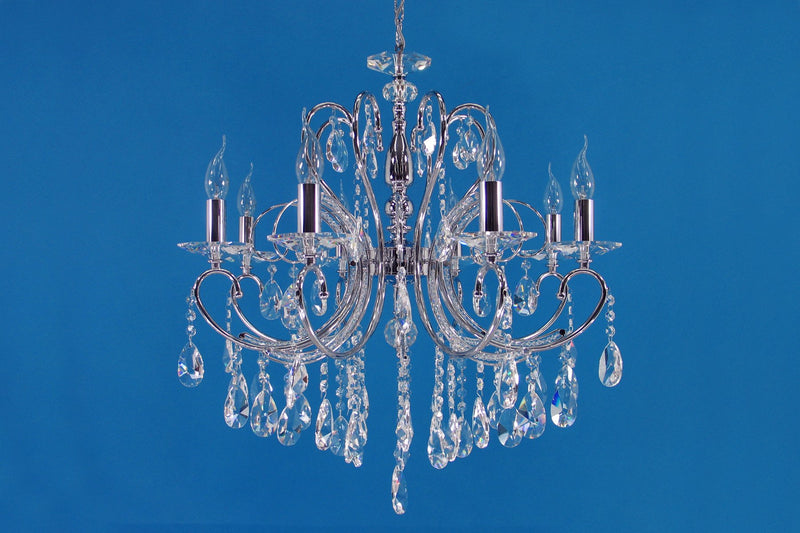 "2013 Crystal Pendant Light 26"" 8 Light - Asfour Crystal Chandelier [2013-26""-8L-873]"