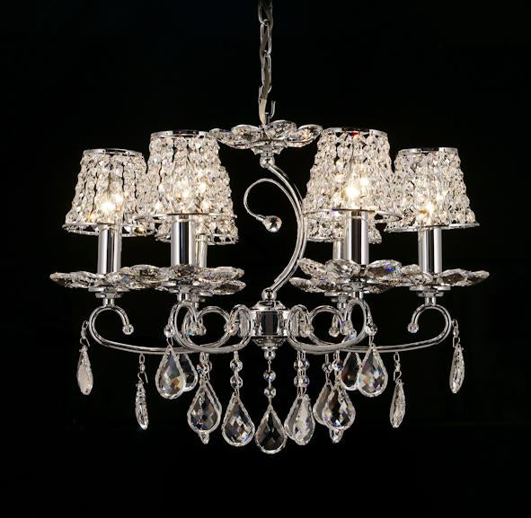 "2039 Crystal Pendant Light 22"" 6 Light - Crystal Shades - Asfour Crystal Chandelier [2039(918)-22""-6L-918+LS1]"
